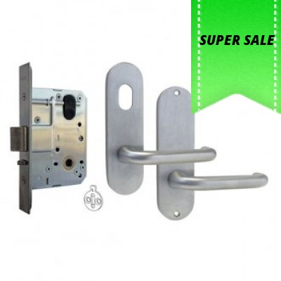 Kaba MS2 Mortice Lock and Handles Package Round End Handles (Classroom Function)